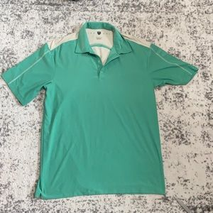 nike golf vented Polo green and cream size M GUC